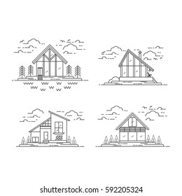 Vector Line Modern House collection with trees, cloads, birds, lake. Landscape design.