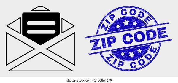 Vector line open mail pictogram and Zip Code seal stamp. Blue round textured seal stamp with Zip Code caption. Black isolated open mail icon in line style.