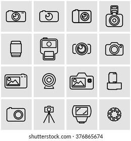 Vector line photo icon set.