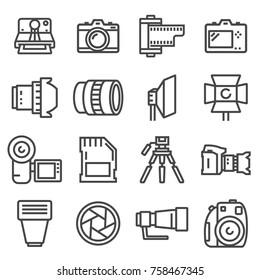 vector line photo icons set on white background