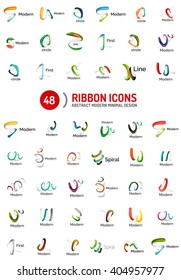 Vector line ribbon logo set. Abstract linear design business icons