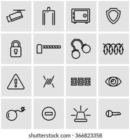 Vector line security icon set.
