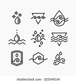 Vector line set of water symbols, outline isolated icons