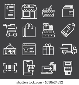 vector line shopping icons on gray background