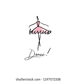 Vector line silhouette of elegant ballerina with watercolor element. Dancer icon. Logo template, label, emblem