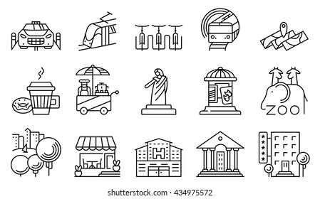 Vector line simple and thin locations and city icons set.  ?ollection includes coffee cup with donut, subway, bicycle parking, street food, affiche, cafe facade, hospital and official building, park