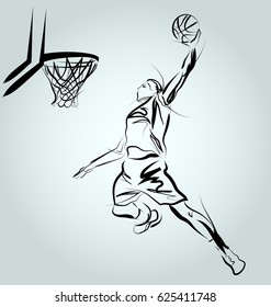 Vector line sketch of a basketball player