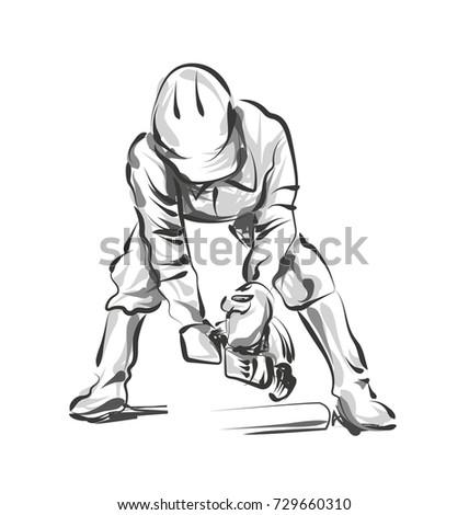 vector line sketch construction worker stock vector royalty free Construction Logos vector line sketch construction worker