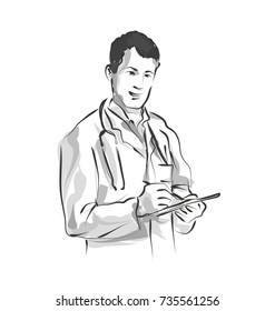 Vector line sketch Doctor