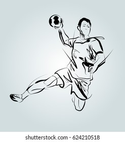 Vector line sketch of a handball player