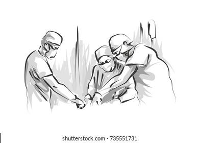 Vector line sketch operating doctors