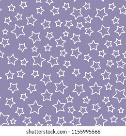 Vector line star seamless pattern Isolated on purple background. Textile Design for baby shower