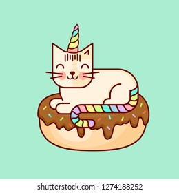 "Vector line style cute bright colored kawaii cat with corn and donat or unicorn. ""Donut worry be happy"" lettering on background. Baby pattern. Illustration for kids and children. Print design."