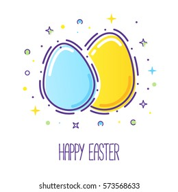 Vector line style easter eggs with a firework isolated on white.