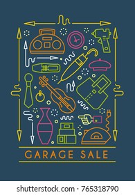 Vector line style illustration. Garage sale, yard sale flyer template. Design element for posters, banners, advertisings.