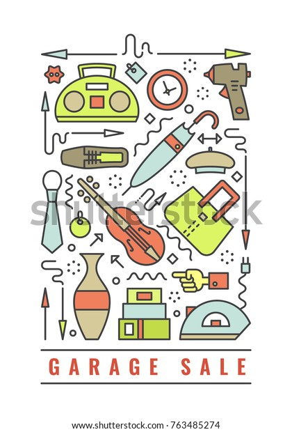 Vector Line Style Illustration Garage Sale Royalty Free
