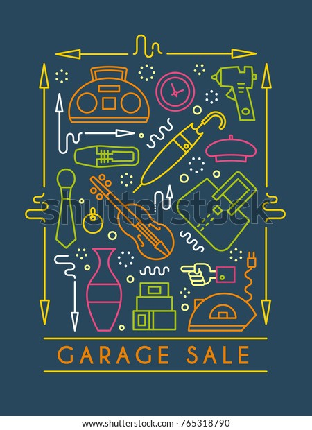 Vector Line Style Illustration Garage Sale Stock Vector