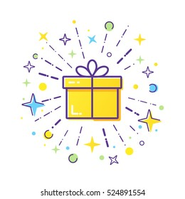 Vector line style logo gift box with a firework. Cute illustration of gift box present, greeting, surprise.
