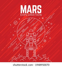 Vector in line style Mars exploration.