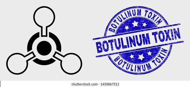 Vector line toxic Nerve agent icon and Botulinum Toxin seal stamp. Blue round textured seal stamp with Botulinum Toxin caption. Black isolated toxic Nerve agent pictogram in line style.