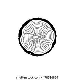 Vector line tree ring, black illustration on white background