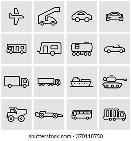 Vector line vehicles icon set.