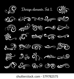 Vector line vintage scroll items for ornate design. Flourish retro lined divider. Filigree scroll swirl of set illustration