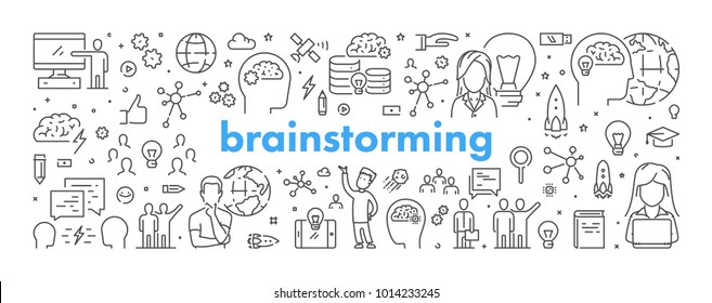 Vector line web banner for brainstorming. Modern linear concept for brainstorm.