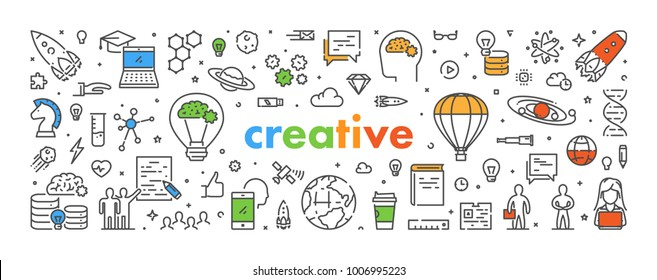 Vector line web banner for creative. Modern linear concept for inspiration.