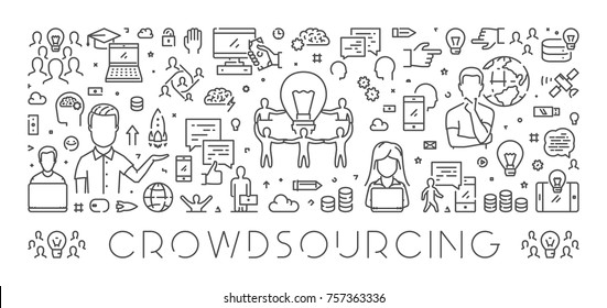 Vector line web banner for crowdsourcing. Modern linear concept for crowdfunding.