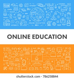 Vector line web concept for education. Linear banner for university. Open path.