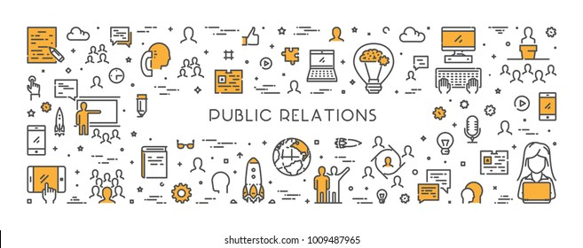 Vector line web concept for public relations. Modern linear banner for advertising.