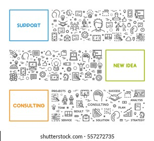 Vector line web concept for support, new idea and consulting. Linear creative style banner.
