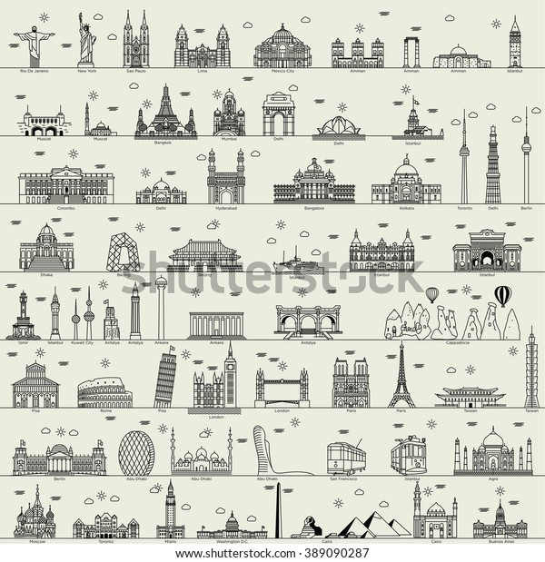 vector line world city illustration sign building set collection