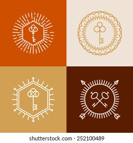 Vector linear badges in hipster style with key icons - abstract design elements