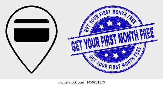 Vector linear bank card pointer pictogram and Get Your First Month Free seal stamp. Blue round textured seal stamp with Get Your First Month Free phrase.