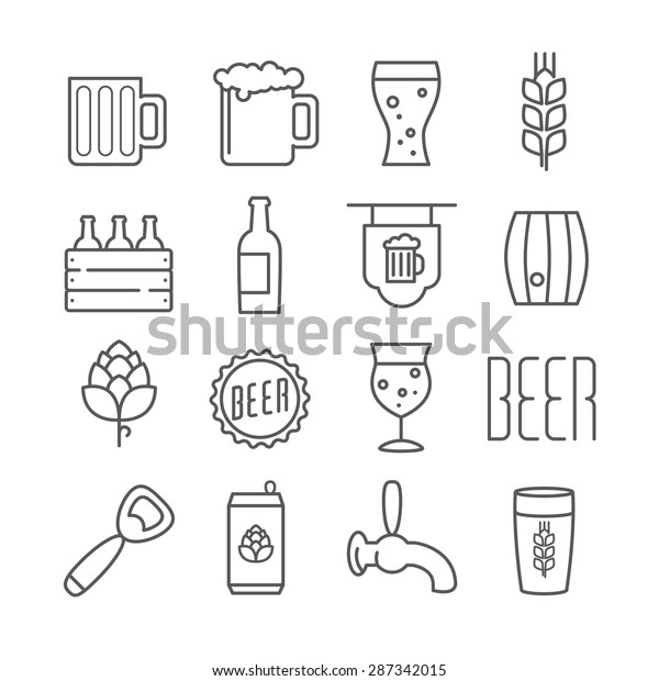 Vector linear beer icons foe print menu, web, design, or infographics