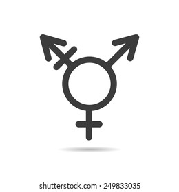 Vector linear black icon transgender symbol for your design isolated on white background