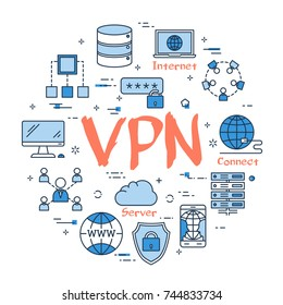 Vector linear blue round concept of Virtual Private Network. Red sign VPN and internet thin line icons, secure connection, transfer files and server data center