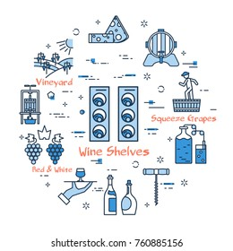 Vector linear blue round concept of vertical Wine Shelves. Thin line icons of process of producing good wine and storage. Modern web banner on white background