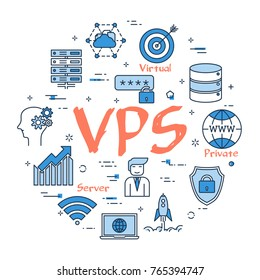 Vector linear blue round concept of VPS concept. Thin line icons of internet server, database and cloud safe information storage. Modern web banner on white background