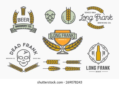Vector linear brewery labels and design elements.