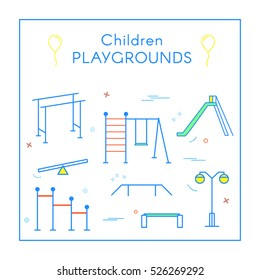 Vector Linear Children's Playground Design Elements Set in Line Style - seesaw, slide, rope ladder, bench. Thin line art icons. Playground design elements for map.
