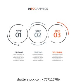 Vector linear circles with arrows elements for infographics. Timeline with 3 steps. Vector design element.