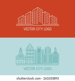 Vector linear city logo concepts - urban illustrations - building icons