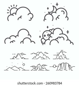 Vector linear clouds collection.