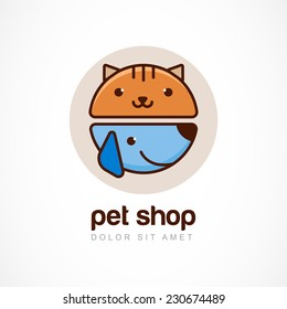 Vector linear colorful illustration of funny muzzle of cat and dog. Logo icon design template. Abstract concept for pet shop or veterinary.