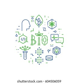 Vector linear concept of bio design, biotechnology and bioengineering - vector illustration