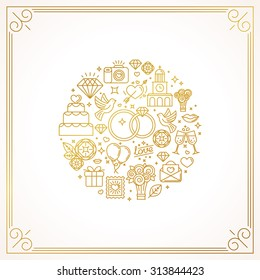 Vector linear concept and illustration for wedding invitations - abstract design template with icons related to love and marriage - golden lines on white background
