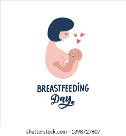 Vector linear contour flat logo breastfeeding. Mother and newborn baby in her arms on an isolated white background. Concept of support for motherhood. Hand written lettering breastfeeding Day